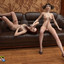 Two sexy futa girls compete to see who cums last!