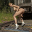 Sexy blonde futa girl with big titsplays with her dick by the train tracks