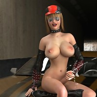 Sexy racer chick with a dick poses and plays by her car!