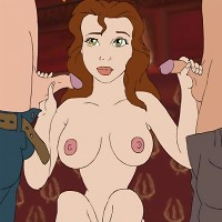 Belle has fun with two big dicks in intense flash gallery!