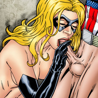 Ms. Marvel gives Captain America a blowjob!