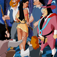 Pocahontas in a group sex with Governor Ratcliffe and some English colonists