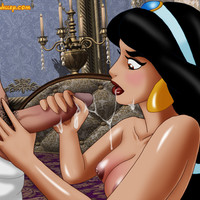 Sexy Jasmine gets Aladdin's cum all over her!