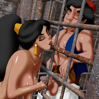 Jasmine gives Aladdin a blowjob behind bars!