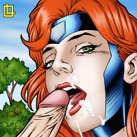 Jean Grey gets anal sex and a facial cumshot from Sabretooth!