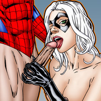 Spidey gets a hot blowjob from beautiful Black Cat!
